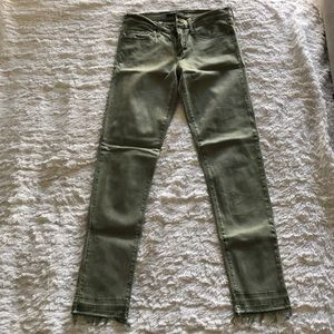 Flying Monkey green raw edge jeans
